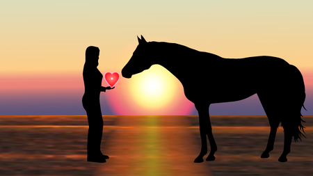 Girl gives the horse a heart at sunset - vector illustration with silhouettes
