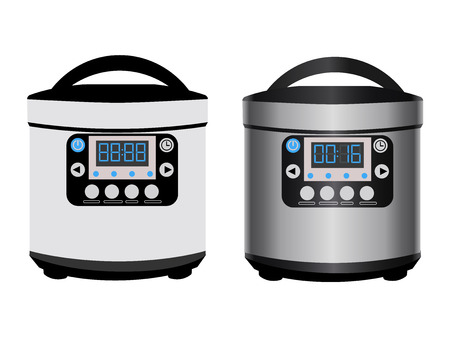 Multicooker - kitchen appliances for automatic cooking. Device with a timer, electronic panel and closed lid. Vector illustration isolated, two versions - in the style of flat and with a shiny surface Ilustração