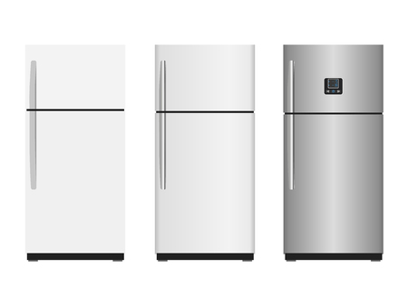 Refrigerators - vector illustration in flat design and with highlights. Closed fridge isolated on a white background. Kitchen appliances.