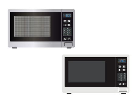 Abstract microwave front view with the door closed and controls - vector illustration or graphic design element. Kitchen equipment image isolated on a white - simple outlines and with light and shade.
