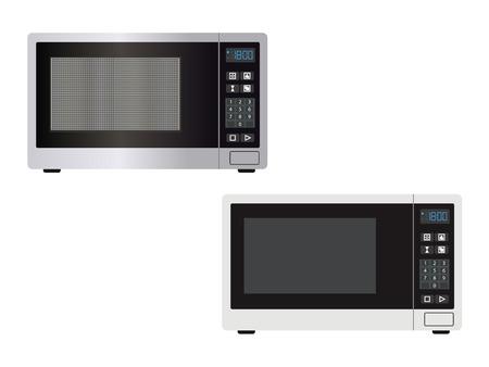Abstrakte Mikrowellenvorderansicht mit geschlossener Tür und Kontrollen - Vektorillustration oder Grafikdesignelement. Küchengerätebild isoliert auf einem Weiß - einfache Umrisse und mit Licht und Schatten.