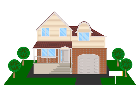 Modern house with attic and garage - vector clipart