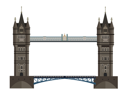 Tower Bridge is a drawbridge on the Thames in the center of London. Old construction, tourist and cultural symbol of Great Britain. Detailed vector illustration, graphic design element.