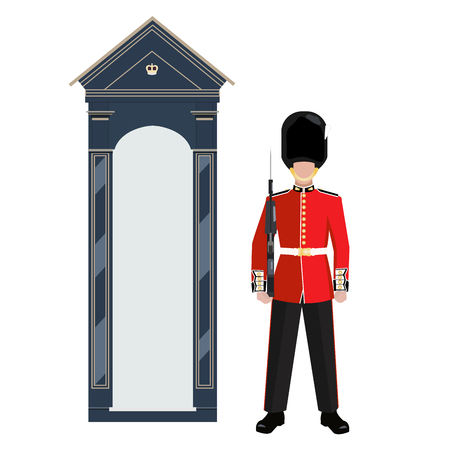 Sentry of The Grenadier Guards outside Buckingham Palace - vector illustration
