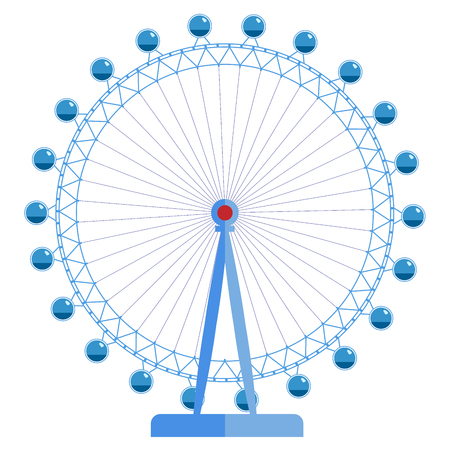 London Eye - huge ferris wheel, one of the sights of Great Britain. Simple vector illustration isolated on a white background.