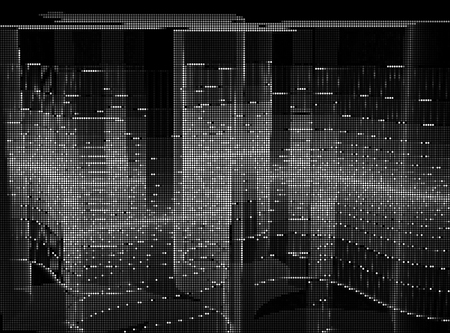 Monochrome vector background - surface with waves and straight lines like futuristic wall. Illustration consist of glowing dots. Contemporary digital art for covers, web design, posters.
