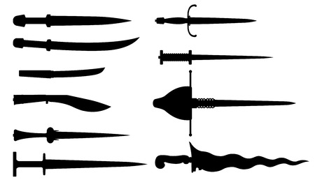 Set of daggers - vector illustration. Silhouettes of steel arms of different eras isolated on white. Weapons with a straight or curved blade. Imagens - 123204702