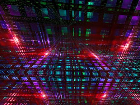 Futuristic background - glowing room - abstract digitally generated image