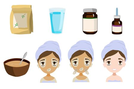 Face care - preparation and application of the mask - vector set