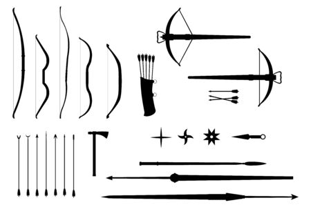 Silhouettes of throwing weapons of different countries and eras - vector set. Bows and crossbows, arrows and spears, tomahawk and shurikens. Black silhouettes on a white background.