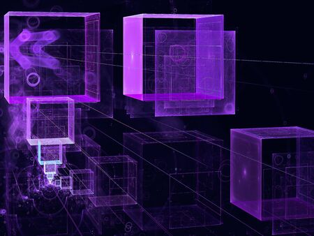 Abstract flying cubes - digitally generated 3d illustration Imagens