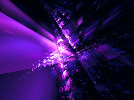 Abstract futuristic city or space station - digitally generated 3d illustration Stok Fotoğraf