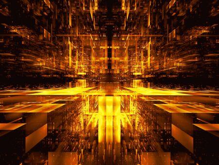 Golden hall or futuristic tunnel - digitally generated 3d illustration Stok Fotoğraf