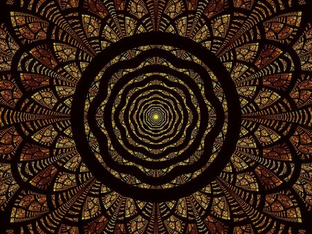 Golden esoteric background - mandala or intricate flower. Fractal - abstract computer-generated image. Digital art: curves, circles and intricate petals. For cards, covers, banners.
