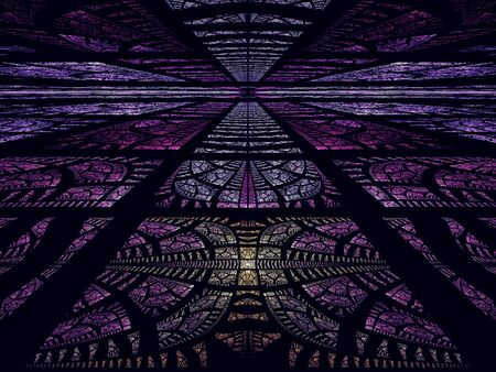 Abstract mystic perspective background - computer-generated 3d illustration. Darp purple composition with intricate ornament. Esoterc or science fiction concept backdrop. 版權商用圖片