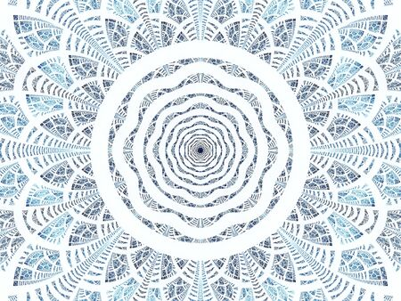 Abstract white and blue esoteric background - mandala or flower. Fractal - computer-generated image. Digital art: concentric circles and intricate petals.