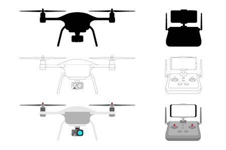 Drone with a camera - modern equipment for photography, video shooting, video surveillance, telepresence, entertainment. Technologies of the future. Vector illustration, silhouette front and top view. 向量圖像