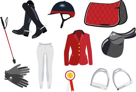 Equipment for the horse jumping - colored set on white background Illustration