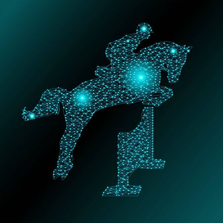 Abstract vector illustration of a jumping horse from polygonal mesh and glowing dots