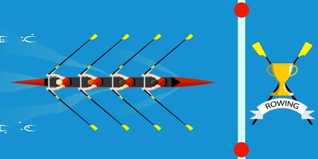 Rowing competition, the team wins the regatta. Coxless quadruple scull rowing boat comes to the finish line first. Color vector illustration.