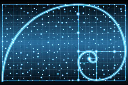 Glowing fibonacci spiral or golden ratio symbol on dark background Imagens