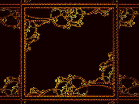 Abstract golden frame on a dark background - digitally generated illustration Imagens