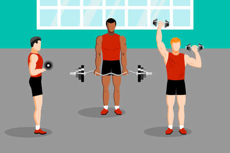 Workout with dumbbell in gym health training Ilustração