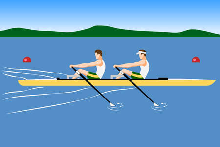 Double scull rowboat team training or competition Ilustração