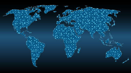 World map with triangular mesh and glowing dots