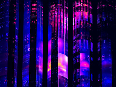 Abstract 3d illustration - bright futuristic towers on a dark background