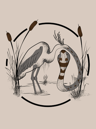 Heron body with snake head. Creative isolated ink drawing style vector illustration
