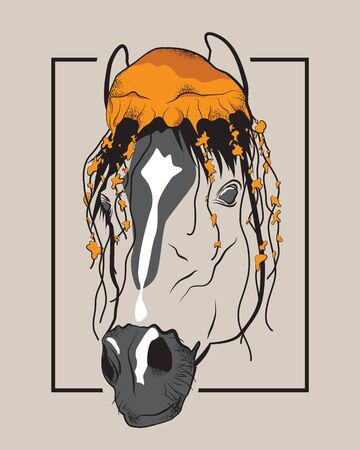 Horse with jellyfish on its head. Creative vector drawing in black frame