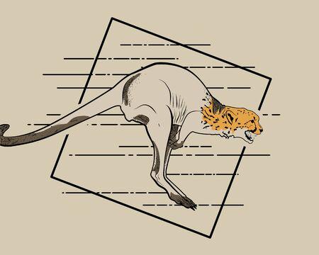 Kangaroo and cheetah running. Creative drawing of two savannah inhabitants. Postcard or poster print idea with wild animals. Illustration of a kangaroo with cheetah head in a black frame. Ilustración de vector