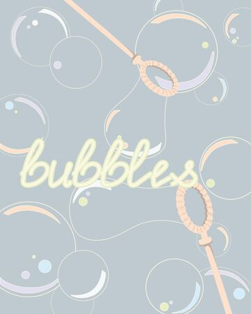 Soap bubble background with soap bubble wands. Light blue background with flying iridescent bubbles. Vector illustration of a soap bubbles and bubble wands.