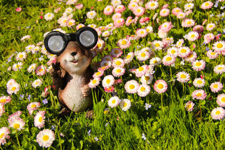 A decorative garden figure of a chipmunk among blooming daisies. Chipmunk figure with lights instead of eyes. Фото со стока