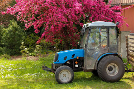 Rural property with a small blue tractor and blooming cherry tree near to the house.