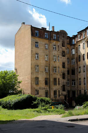 Latvian ghetto with russian architecture legacy. Multistory house in the suburb.