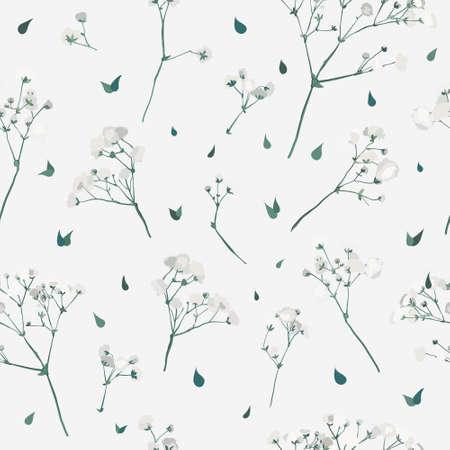 White posy pattern. Gypsophila twigs repeating pattern. Bridal seamless pattern.