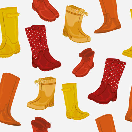 Rubber boots in different models and colors. Waterproof boots with trendy design. Rubber boot seamless pattern. Ilustração