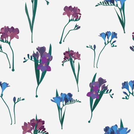 Freesia flower repeating ornament. Freesia seamless vector pattern. Feminine flourish pattern. 矢量图像
