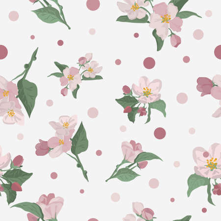 Apple blossom seamless pattern. Apple flower repeating print. Gentle floral pattern.