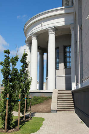 1.08.2020. Riga, Latvia. VEF culture palace. Round porch built in classic style. Greek columns decorate the porch.