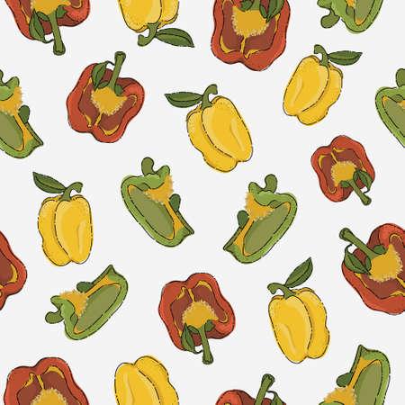 Bell pepper seamless pattern. Multicolored vegetable template. 矢量图像