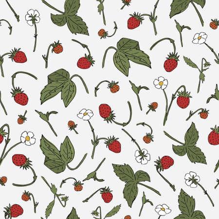 Nature doodle motif. Wild strawberry seamless pattern. Repeating botanical print.