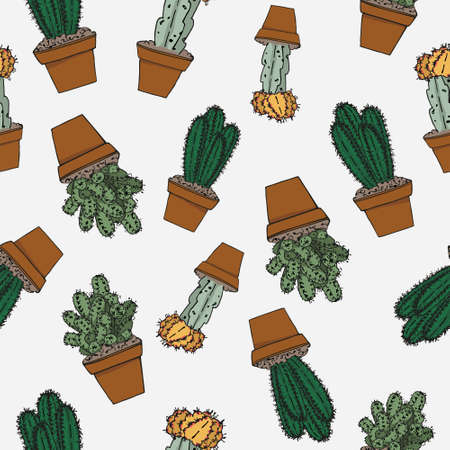 Potted cactus set. Succulent plant seamless vector pattern. Botanical doodle ornament.