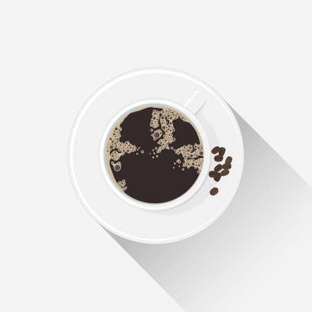 White cup with a hot drink. Coffee cup with a saucer. Minimalist black coffee graphic illustration. 矢量图像