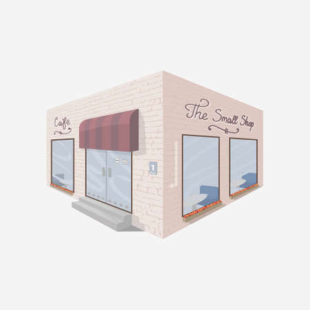 Small shop building facade. Pink brick cafe. Isometric shop building. Cute cafe.