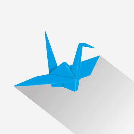 Origami paper crane. Blue paper bird. Oriental hobby.