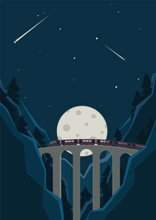 Train goes through the bridge. Night train trip through the mountains and woods. Voyage illustration.