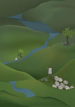 Shepherd found lost shep. Herdsman with his herd standing among green hills.